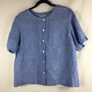 Women's orvis chambray blue blouse top size medium